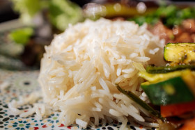 Stock Image: Rice and grilled vegetables