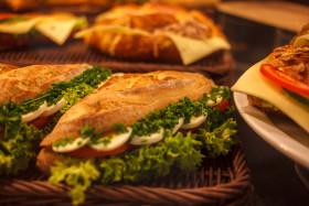 Stock Image: sandwich with tomato mozzarella