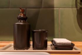 Stock Image: Soap dispenser and sponge in a bathroom