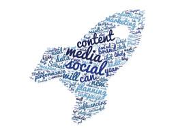 Stock Image: social media tag cloud rocket