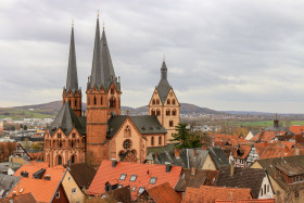 Stock Image: St. Mary church in Gelnhausen Cityscape