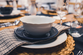 Stock Image: Table set with soup bowl