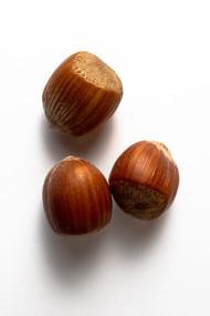 Stock Image: Three Hazelnuts white background