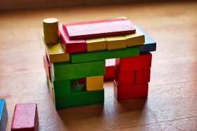 Toy house made of building blocks