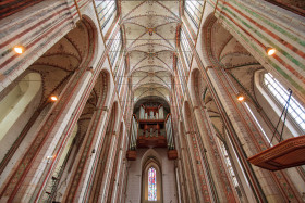 Stock Image: View up to the organ of the Marienkirche in Lübeck