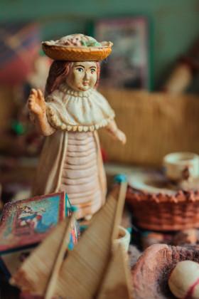 Stock Image: Vintage girl doll  vertical